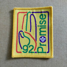Vintage Cloth Badge - Scouting - Promise 92 - Scout Salute - Yellow
