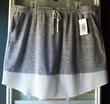 SoUniquelyU Knit Drawstring Cover-up Skirt w/Contrast Trim - Plus 20-22 (XXL)