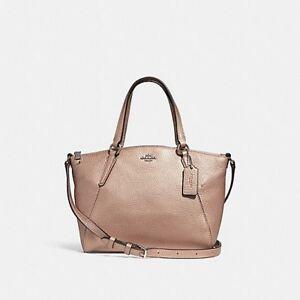 Coach Mini Kelsey Satchel Crossbody Evening Bag Purse Rose Gold Leather F29639