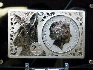 2018 25th Anniversary Australia Kangaroo 3oz Silver Coin & Bar Set Box & COA #CF