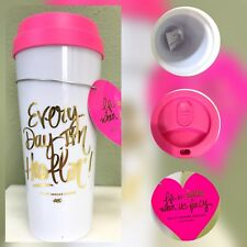 Ashley Brooke Double Wall Acrylic Tumbler Cup w Pink Lid White Free Shipping