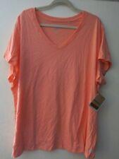Reebok Woman 3X Active V Neck Cotton Short Sleeve Top Shirt T-Shirt Orange c83f75a83