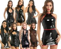 Women Mesh Ladies Party Bodycon Wet Look Mini Dress Leather Night Club Wear