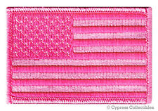 AMERICAN FLAG EMBROIDERED PATCH iron-on PINK LADIES BREAST CANCER AWARENESS USA