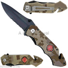 Fire Fighter Camo Liner Lock Knife & Seatbelt Cutter - Hunting Camping Survival