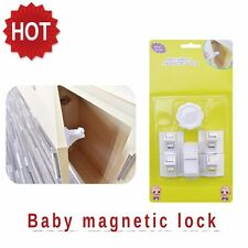 Baby Safety Magnetic Lock 1 Key 4 Locks Cabinet Door Baby Child Proof  US Seller