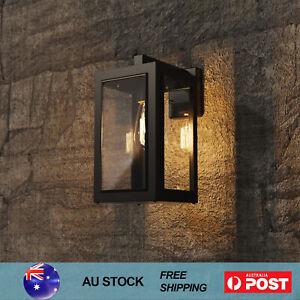 Outdoor Wall Light LED Lights Retro Garden Pathway Yard Lamp Glass Black E27