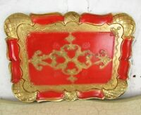 Mid Century Hollywood Regency Florentine Serving Tray Red Gold Gilt Resin Italy
