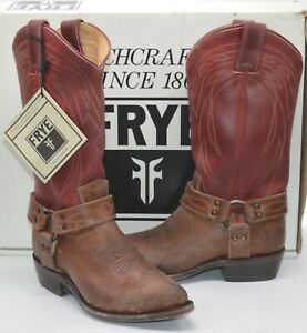 New $348 Frye Billy Harness Burgundy/Brown Leather Cowboy Boots Distressed