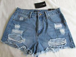 Fashion Nova Juniors Ripped Denim Shorts Distressed Cotton Non-Stretch Sz 5 NWT