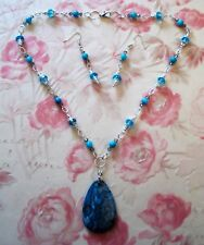 HAND MADE BLUE MOTHER OF PEARL/CRYSTAL NECKLACE/LEOPARDSKIN JASPER PENDANT/EAR.