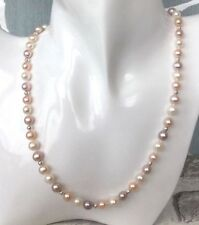 3 Colour White, Peach and Lavender Freshwater Pearl Necklace with 925 silver