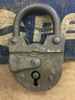 Antique Old Rare Rich Patina Iron Two Touren Key Padlock  Germany