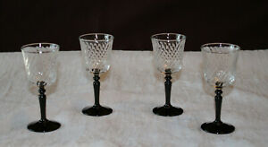 4 Vintage Cristal D'Arques-Durand Onyx Black Cordial Wine Glasses