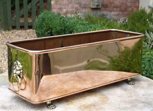 Vintage copper planter window sill trough box lion handles