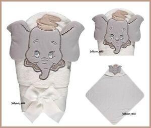 Baby Unisex Disney 3D Dumbo White Hooded Bath Towel Boys Girl Character Gift NEW