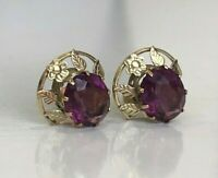 Vintage 9k solid gold with purple stone stud earrings 2.41g