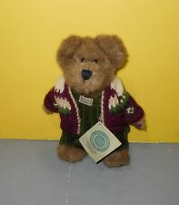 "10"" Boyd's Bears Sterner Brown Bear With Green Jumper And Red Sweater Bean Plush"