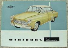 WARTBURG LIMOUSINE Car Sales Leaflet 1959 GERMAN TEXT #V/4/59-15