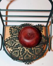 Wooden Red Apple Card Holder w/ Green Wrought Iron Display Stand / Rack