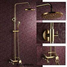Polished Brass Gold Wall Mount Bathroom Rain Shower Tap Set Mixer Shower Faucet