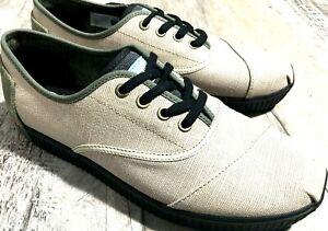 Toms Men's Cordones Indio Sneaker Tan Canvas Shoes Comfort Footwear Size: 9.5 M