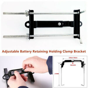Portable Battery Retaining Holding Clamp Bracket Bolt Tie Hold Down Car Van Boat