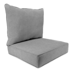 Sunbrella Deep Seat Cushion 2 piece set Granite Gray NEW