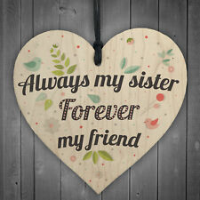 Friendship Sign Best Friend Sister Plaque Shabby Chic Gift Wood Hanging Heart