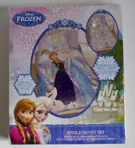 DISNEY FROZEN CRYSTAL SINGLE BED DUVET COVER SET REVERSIBLE ANNA ELSA OLAF KIDS