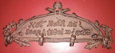 Hot Bath Sign Plaque Cast Iron Hook Wall Towel Coat Rack Rustic brown/ black.