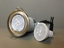 Philips GU10 3.5w LED Light Bulb + Brushed Nickel Fire Rated Ceiling Fitting Kit