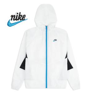 Nike Sportswear Heritage Windrunner Full Zip Hoodie White Blue Men's size Large