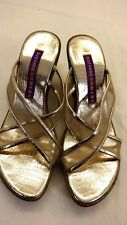 SUZANNE SOMERS WOMENS METALLIC GOLD SANDALS DRESSY SHOES US SIZE 7M