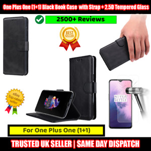One Plus One (1+1) - A0001 Black Book Case Flip with Strap + 2.5D Tempered Glass