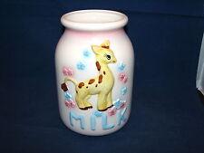 VTG Relpo Baby's Room Decoration Giraffe Ceramic Glass Milk Container Jar Japan