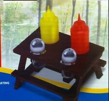 New with Box for Sales - Picnic Table Condiment Set Holder 5 pc