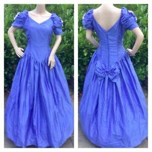 Vintage Bridesmaid Dress 1980's Purple Roses Victorian Hen Party S