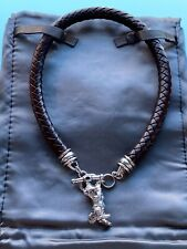 kieselstein Leather Necklace With Tiger Pendant