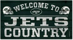 NFL New York Jets Welcome to Country Wood Sign Holzschild Holz 61x33 Football