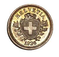 Vintage Coin Switzerland 1 Rappen 1936 B BU Toned KM# 3 3.2 US Seller