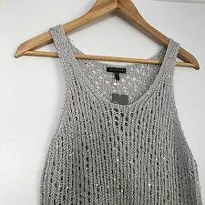 Eileen Fisher Sequin Chain mail Mesh Scoop Neck Knit Tank Top NWT $278 Medium M