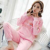 2019 Women Girl Warm Winter Flannel Coral Velvet Nightgown Sleepwear Pajamas Set
