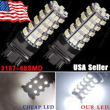 2PCS Xenon White 3157 68-SMD SRCK CK Socket Back up Tail Stop Light LED Bulb T25