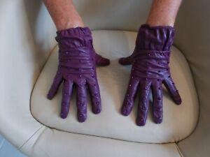 PURE Purple Soft Leather Gloves * sz S/M * DOMINATRIX * MISTRESS * GOVERNESS