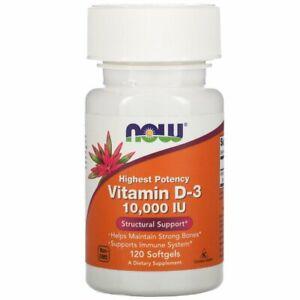 Now Foods, Vitamin D-3 High Potency, 10,000 IU, 120 Softgels Now D3 10000 IU