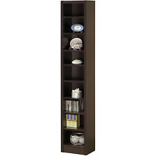 Narrow Bookcase Shelf Wood Bookshelf Tall Book Storage Home Furniture Cappuccino