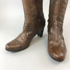 Jones Size 42 UK8-8.5 Brown Leather Knee High Zip Up Heeled Boots Fully Lined