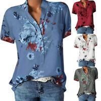 Women Daily Printing Pocket Plus Size V-Neck Short Sleeve Blouse Easy Top Shirt