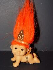 """Troll Doll 2"""" Russ Thanksgiving Day Indian Cawling Baby Rare"""